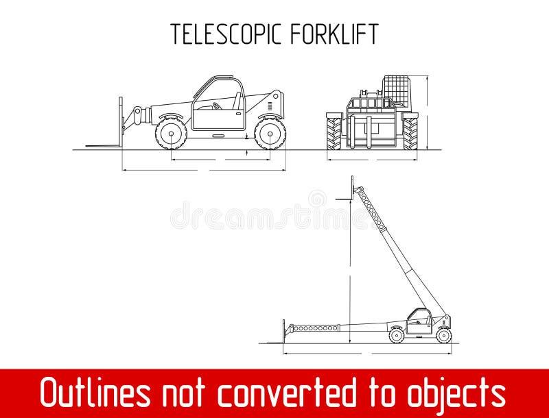 O alimentador telescópico típico com dimensões totais do guindaste industrial da forquilha esboça o molde do modelo ilustração royalty free