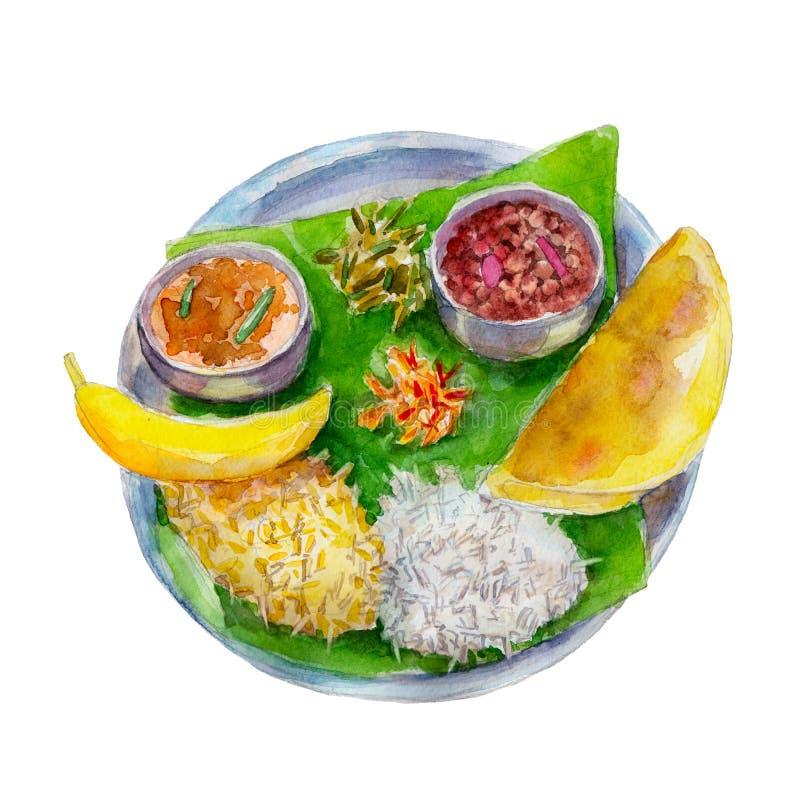 O alimento bengali indiano nacional na folha de uma árvore de banana, ilustração da aquarela ilustração royalty free