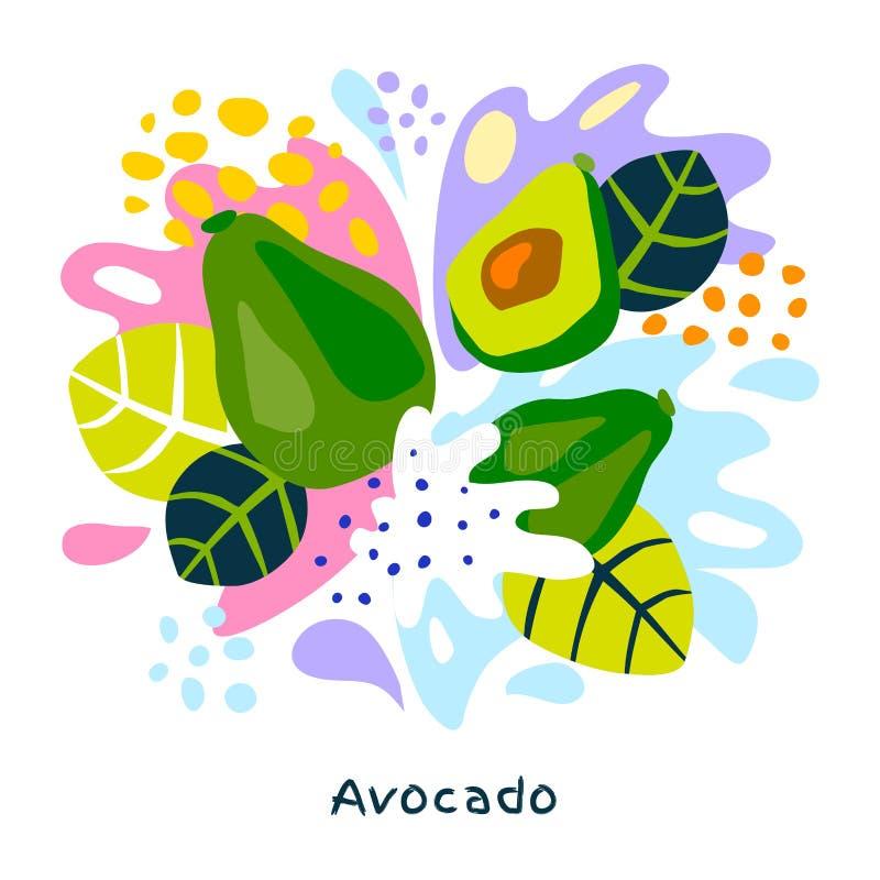 O alimento biológico exótico tropical do respingo do suco das citrinas do abacate fresco suculento salpica o fundo abstrato ilustração do vetor