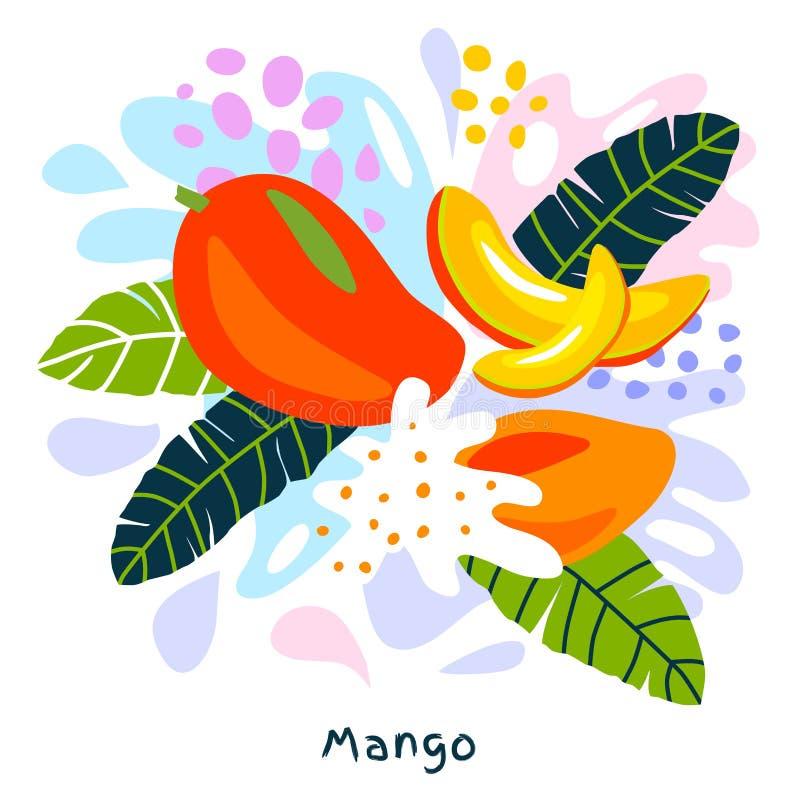 O alimento biológico exótico tropical do respingo do suco das citrinas da manga fresca suculento salpica o fundo abstrato ilustração do vetor