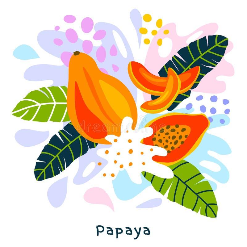 O alimento biológico exótico tropical do respingo do suco das citrinas da papaia fresca suculento chapinha papaia no fundo abstra ilustração royalty free