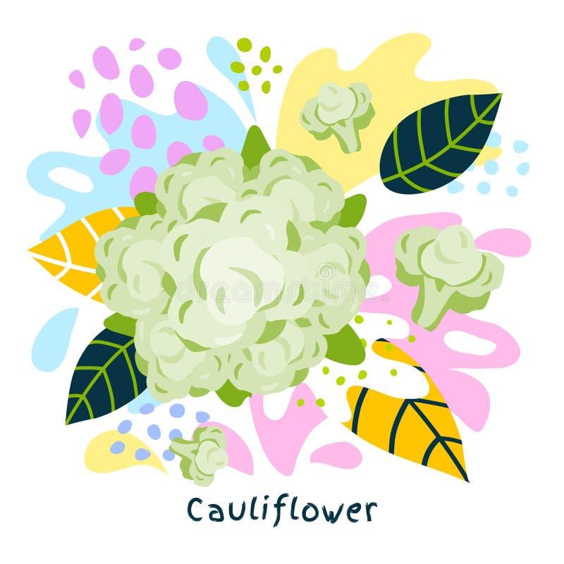 O alimento biológico fresco do respingo do suco vegetal da couve-flor suculento em coloful abstrato chapinha o vetor do fundo do  ilustração do vetor