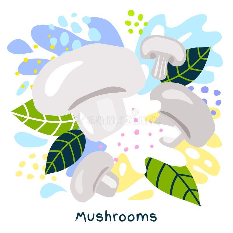 O alimento biológico fresco do respingo do suco vegetal dos cogumelos suculento em coloful abstrato chapinha o vetor do fundo do  ilustração royalty free