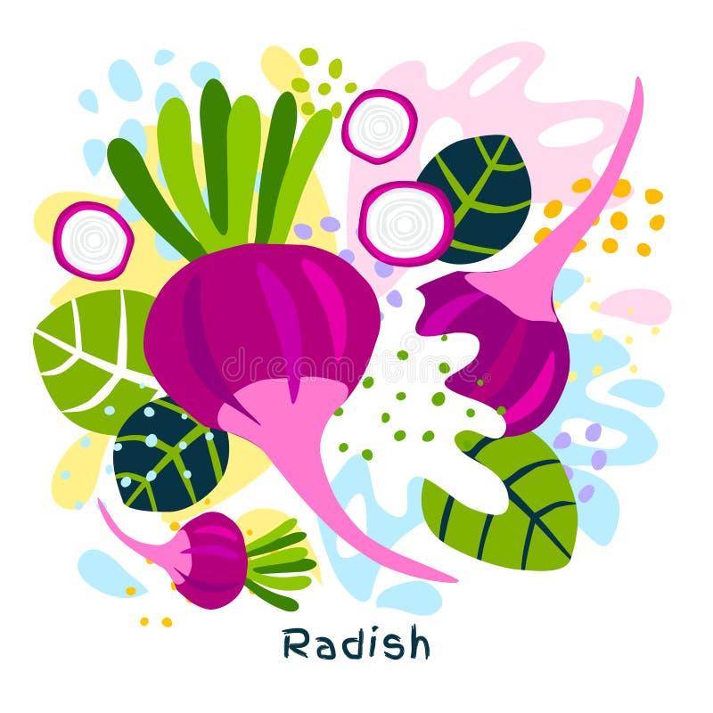 O alimento biológico fresco do respingo do suco vegetal do rabanete em coloful abstrato chapinha ilustrações tiradas mão do vetor ilustração do vetor