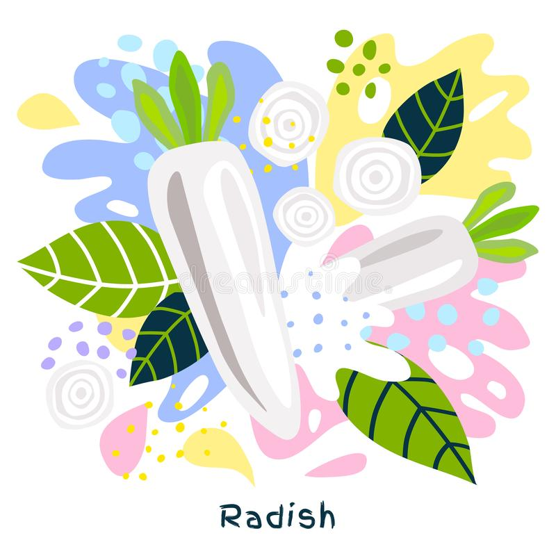 O alimento biológico fresco do respingo do suco vegetal do rabanete em coloful abstrato chapinha o vetor do fundo do respingo ilustração do vetor
