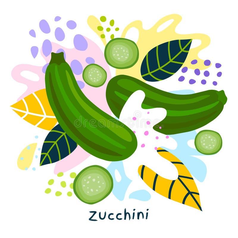 O alimento biológico verde fresco do respingo do suco vegetal do abobrinha suculento em coloful abstrato chapinha o vetor do fund ilustração royalty free