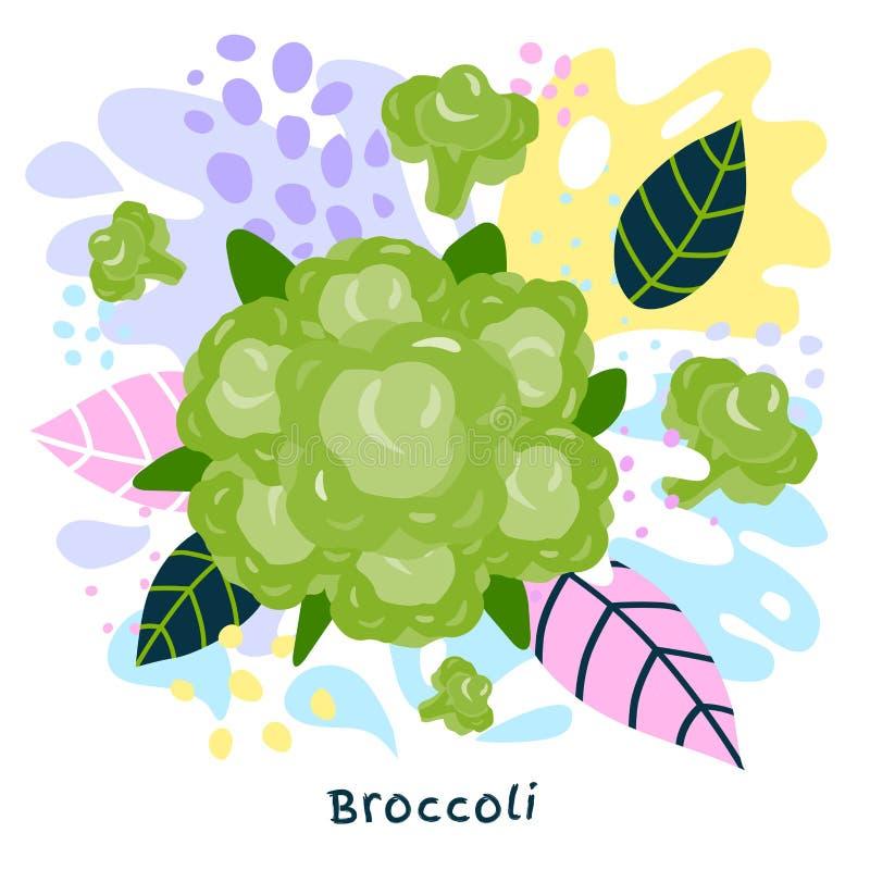 O alimento biológico verde fresco do respingo do suco vegetal dos brócolis suculento em coloful abstrato chapinha o vetor do fund ilustração stock