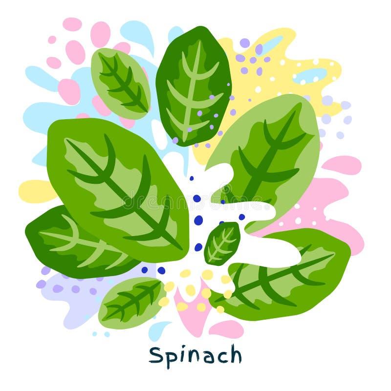 O alimento biológico verde fresco do respingo do suco vegetal dos espinafres em coloful abstrato chapinha o vetor do fundo do res ilustração do vetor