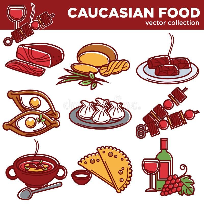 O alimento caucasiano torna côncavos ícones tradicionais do vetor da culinária para o menu do restaurante ilustração do vetor