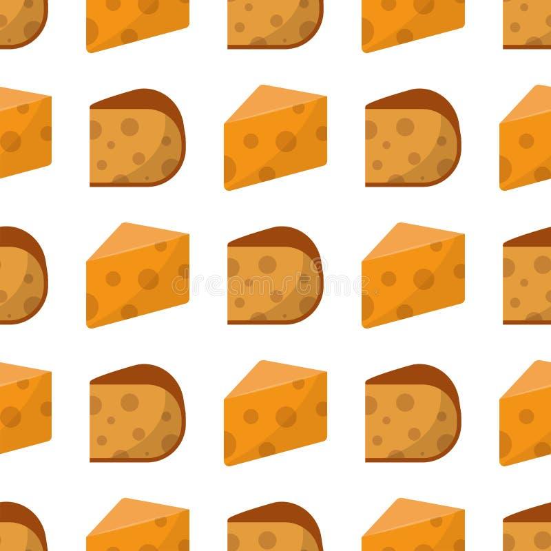 O alimento de leiteria do teste padrão do queijo fresco e o camembert sem emenda deliciosos do leite remendam a ilustração do vet ilustração royalty free