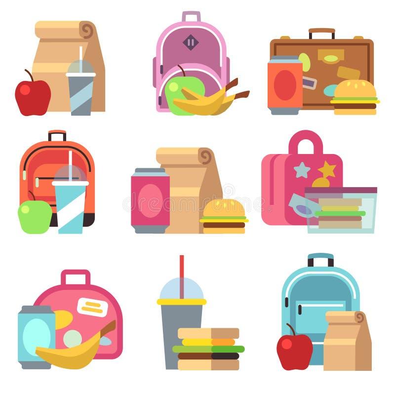 O alimento do almoço escolar encaixota e caçoa ícones lisos do vetor dos sacos ilustração royalty free