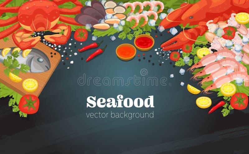 O alimento dos pratos do marisco do restaurante dos peixes cozinhou um fundo gourmet do jantar ilustração royalty free