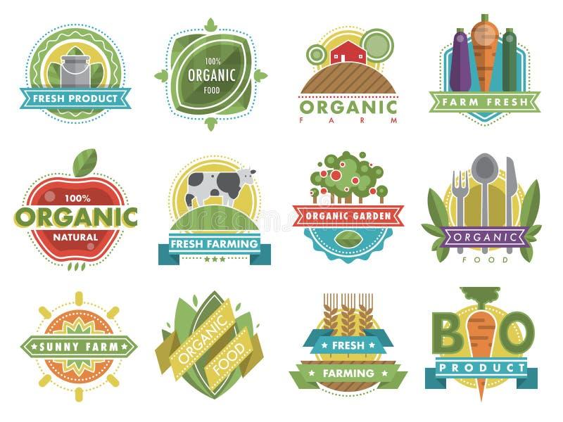 O alimento orgânico saudável fresco do produto da natureza do logotipo do alimento do vegetariano etiqueta e etiqueta a ilustraçã ilustração do vetor