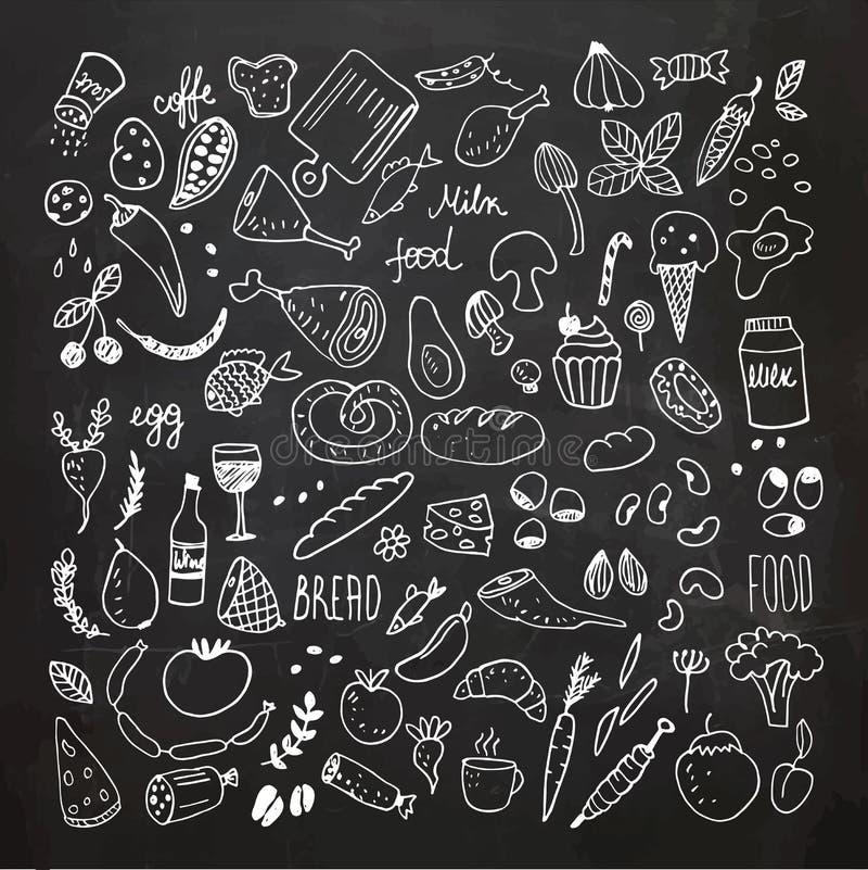 O alimento rabisca a coleção Ícones tirados mão do vetor Desenho da carta branca fotos de stock royalty free