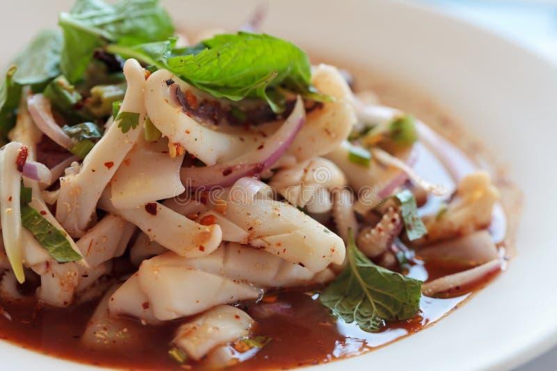 O alimento tailandês é marisco picante do calamar foto de stock