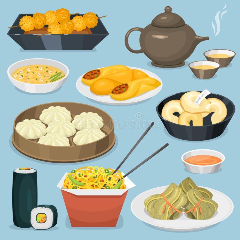 O almoço delicioso da porcelana da refeição do jantar de Ásia da culinária do prato chinês do alimento da tradição cozinhou a ilu ilustração stock