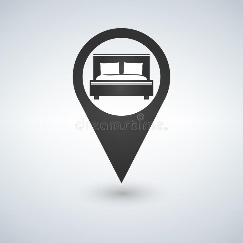 O alojamento em hotel pontual, ponto do mapa isolou o ícone com símbolo da cama, ilustração ilustração royalty free
