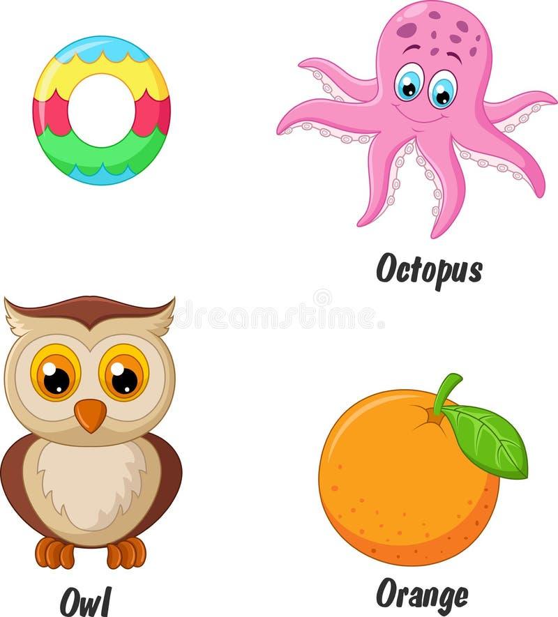 O alphabet cartoon. Illustration of O alphabet cartoon royalty free illustration