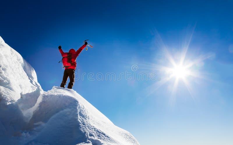 O alpinista comemora a conquista da cimeira fotografia de stock royalty free