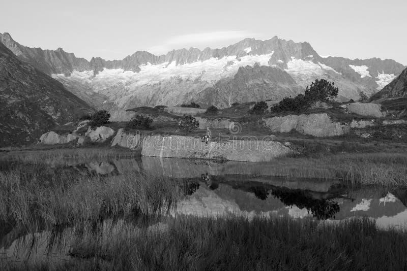 O alpinista faz uma ruptura durante um nascer do sol em um lago da montanha foto de stock