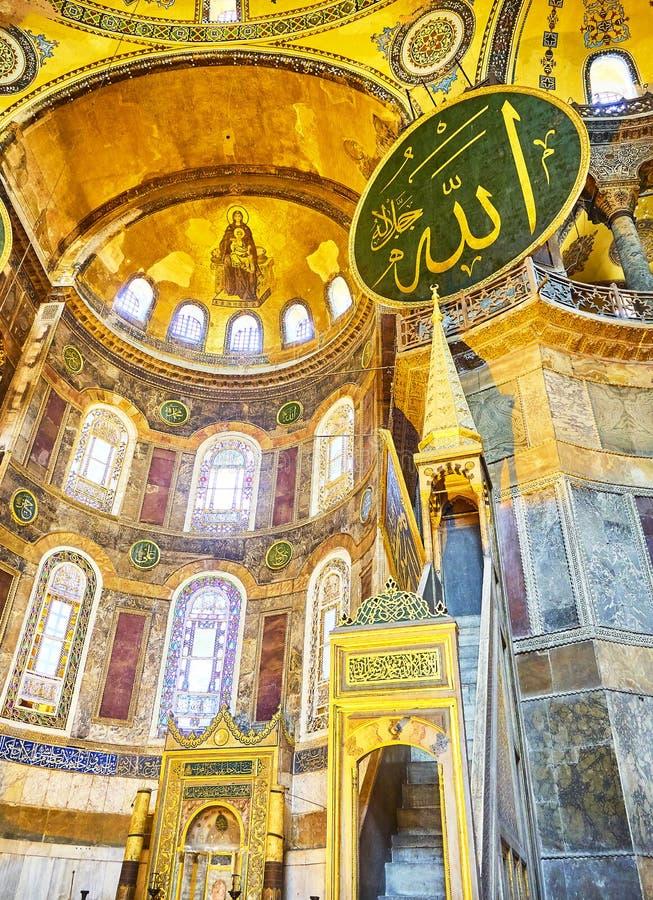 O altar da mesquita de Hagia Sophia Istambul, Turquia imagens de stock royalty free