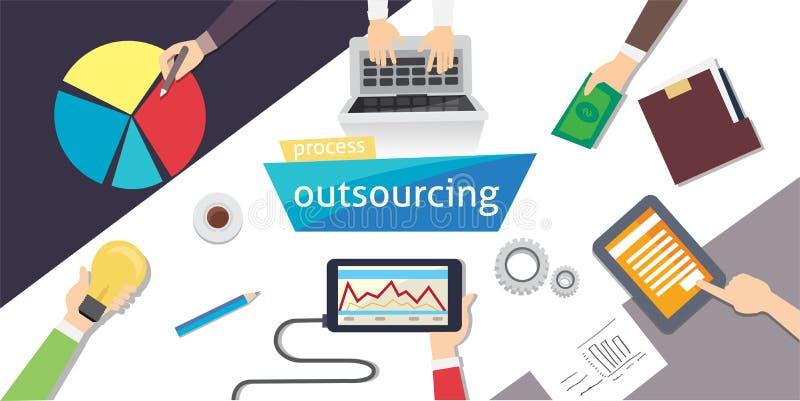 O aluguer de externalização externaliza Projeto digital de Outsourc, eps 10 ilustração aérea vetor-estoque ilustração do vetor