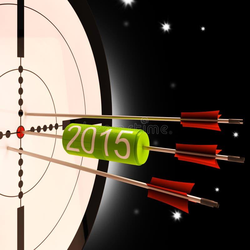 O alvo de projeção do futuro 2015 mostra para a frente - o planeamento ilustração stock