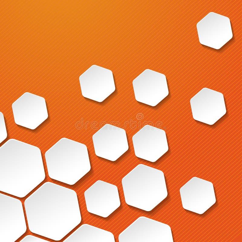 O alvo do hexágono do Livro Branco etiqueta o fundo das listras da laranja ilustração stock