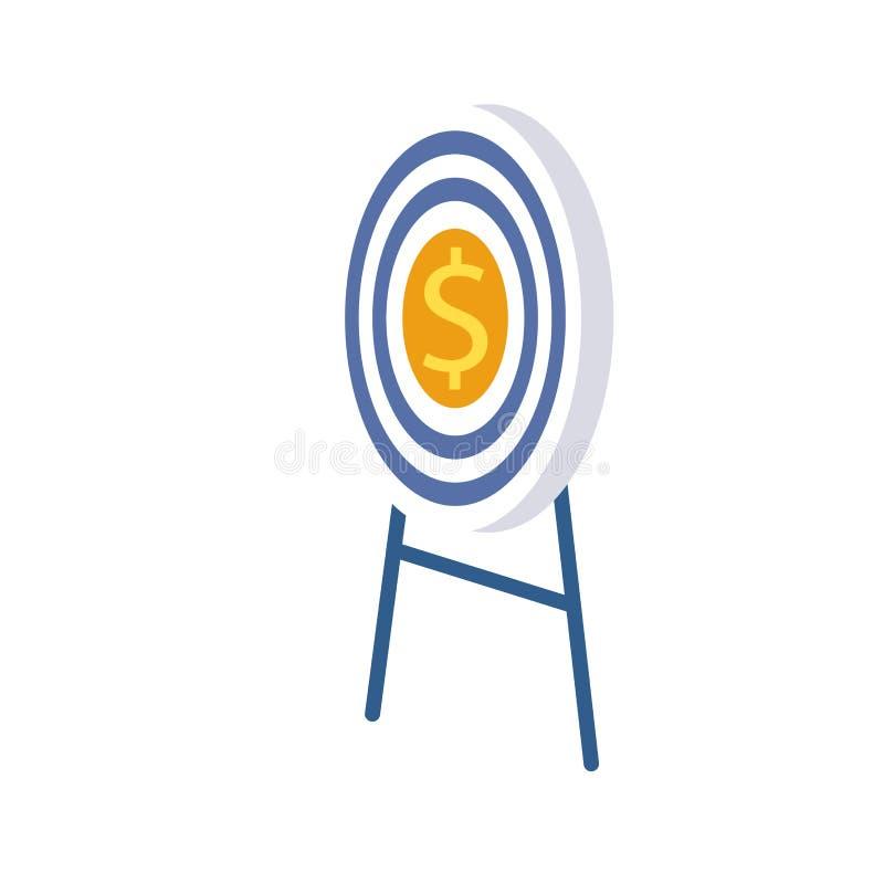O alvo no centro com dólar está no suporte ilustração stock