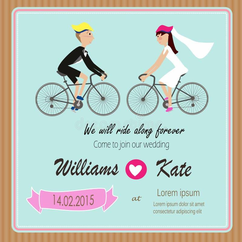 O amante da bicicleta acopla o convite do casamento ilustração stock