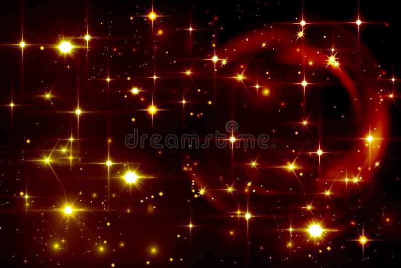 O amarelo abstrato do efeito da luz stars no fundo preto, brilhando, ilustração do vetor