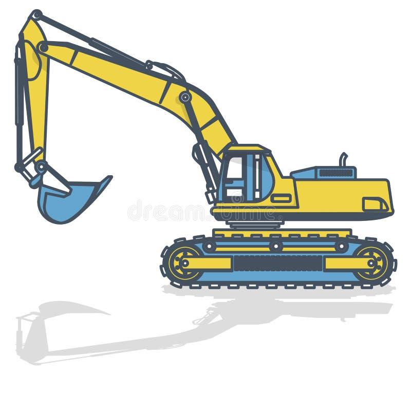 O amarelo azul esboçou a máquina escavadora grande, escavador no branco ilustração royalty free