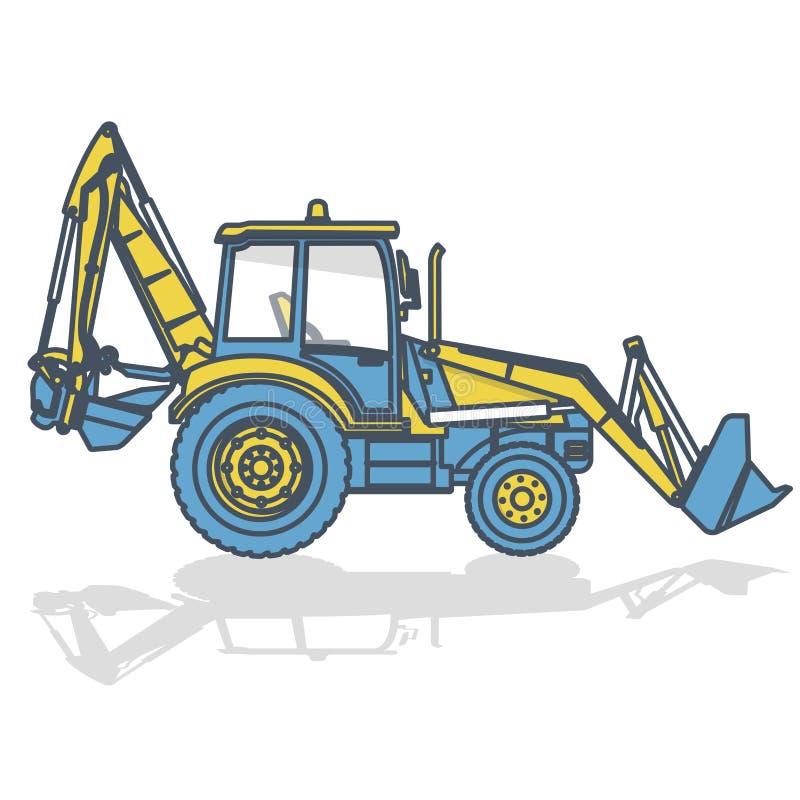 O amarelo azul esboçou a máquina escavadora grande, escavador no branco ilustração stock