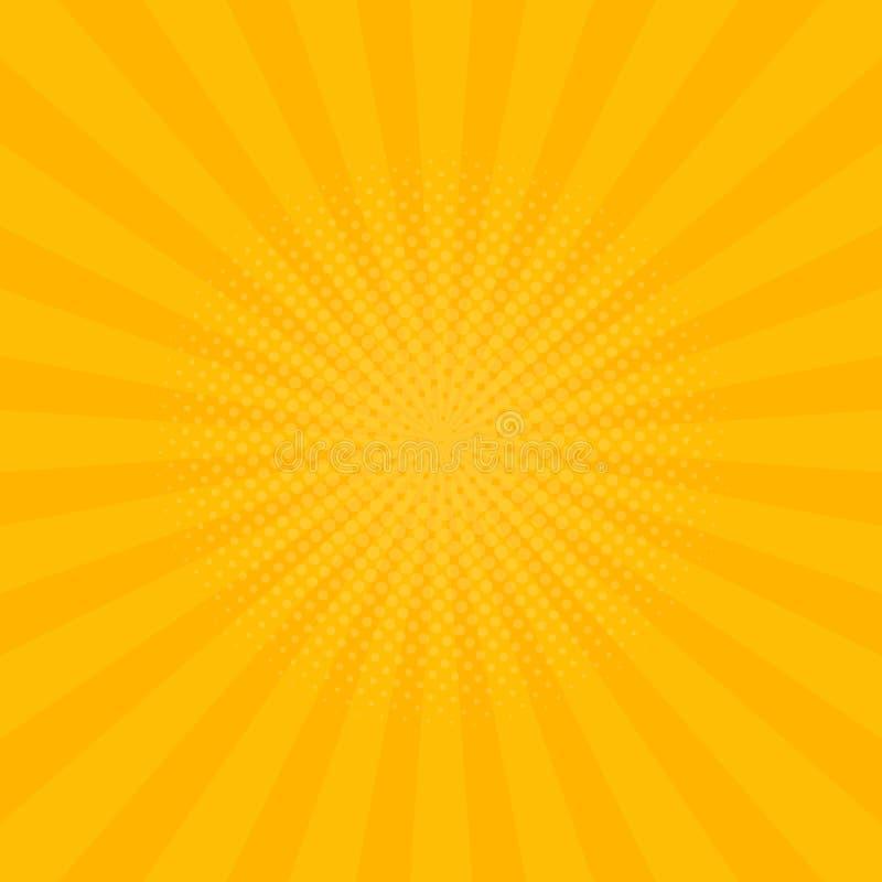 O amarelo brilhante irradia o fundo Banda desenhada, estilo do pop art Vetor ilustração do vetor
