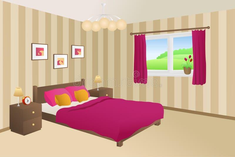 O amarelo cor-de-rosa bege da cama do quarto moderno descansa a ilustração da janela das lâmpadas ilustração do vetor
