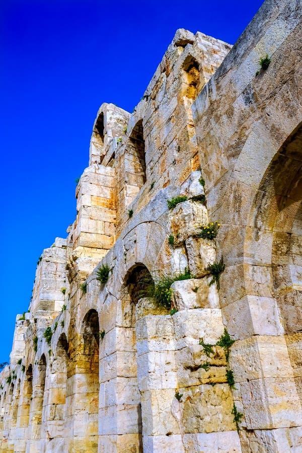 O amarelo de Odeon Herodes Attiacus floresce a acrópole Atenas Grécia imagem de stock royalty free