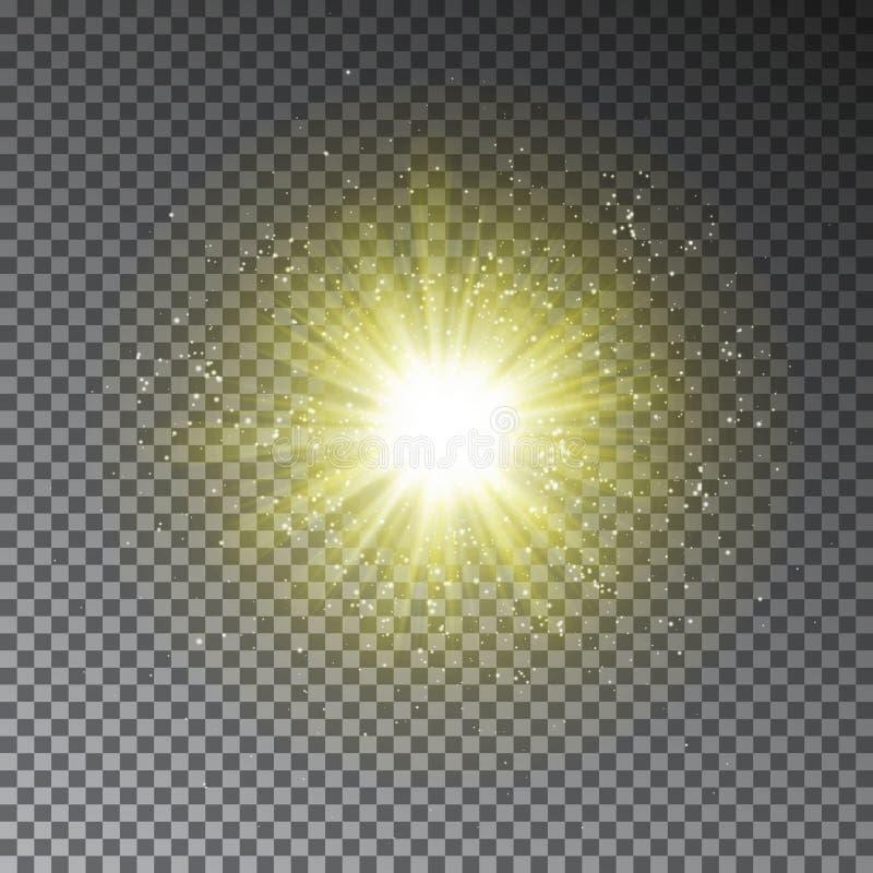 O amarelo explode o efeito Efeito claro transparente de incandescência do brilho isolado no fundo escuro mágica ilustração royalty free