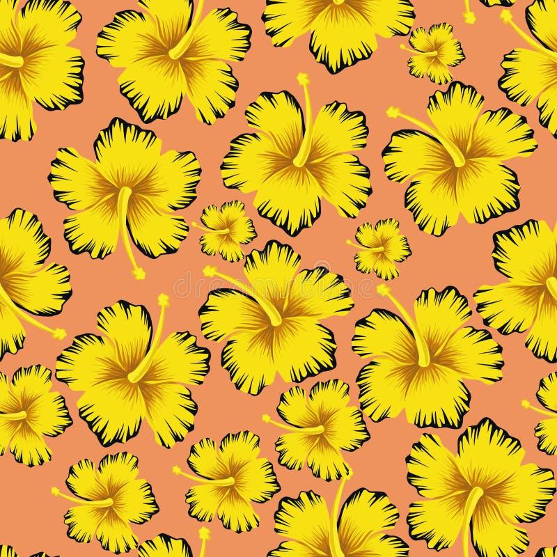 O amarelo floresce o fundo cor-de-rosa sem emenda do hibiscus ilustração do vetor