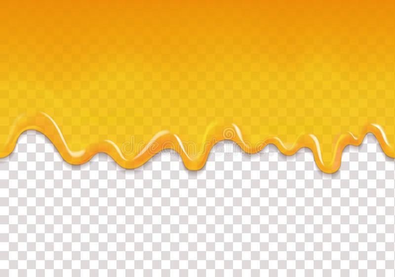 O amarelo goteja o fundo sem emenda A geleia ou o mel alaranjado do limão deixam cair o vetor horizontal ilustração do vetor