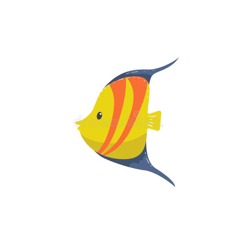 O amarelo na moda dos desenhos animados listrou peixes com ícone azul das aletas Projeto engraçado para crianças ilustração royalty free