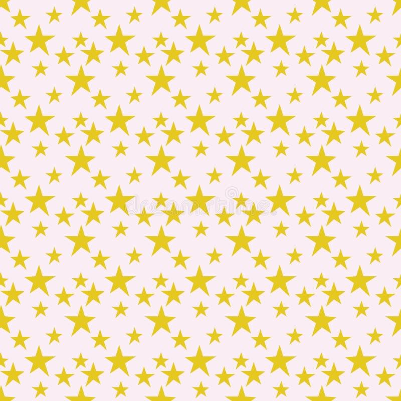 O amarelo stars o teste padrão sem emenda ilustração do vetor
