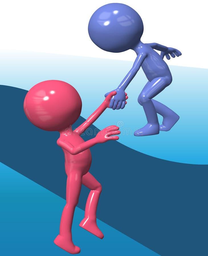 O amigo azul do elevador 3D da pessoa do ajudante escala acima ilustração do vetor