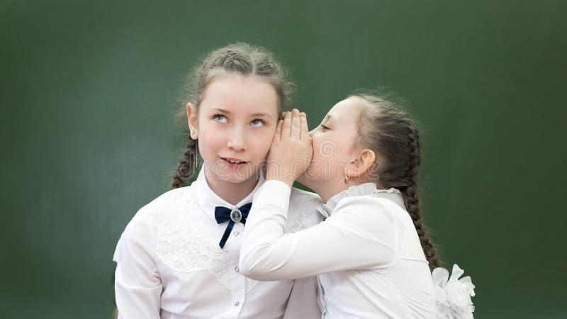 O amigo da escola diz um segredo em sua orelha imagens de stock