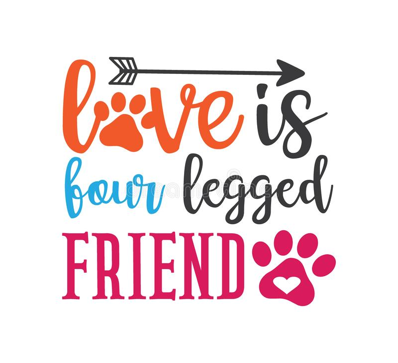 o amor é o amigo quatro equipado com pernas que inspira o projeto gráfico engraçado de vetor das citações para a impressão da lem ilustração stock