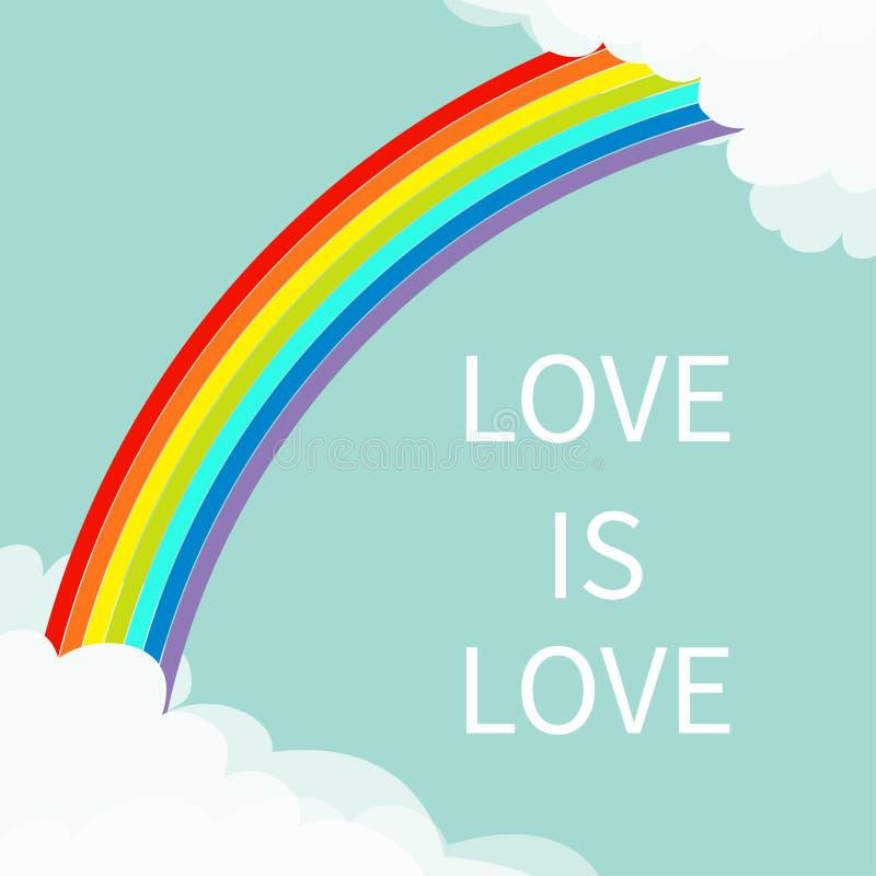 O amor é amor Arco-íris no céu Nuvem macia no molde do quadro dos cantos Cloudshape Tempo nebuloso Símbolo do sinal de LGBT Desig ilustração stock