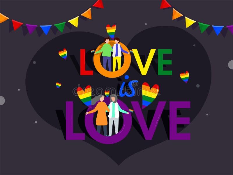 O amor é conceito do amor com ilustração de pares do gay e lesbiana ilustração do vetor