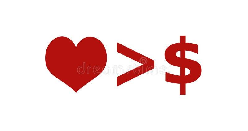 O amor é mais importante do que a ilustração do conceito do dinheiro ilustração stock