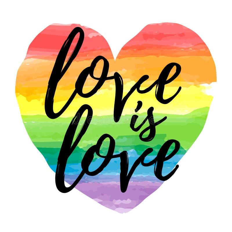 O amor é amor que rotula na forma do coração do espectro do arco-íris da aquarela Emblema da homossexualidade isolado no branco L ilustração do vetor