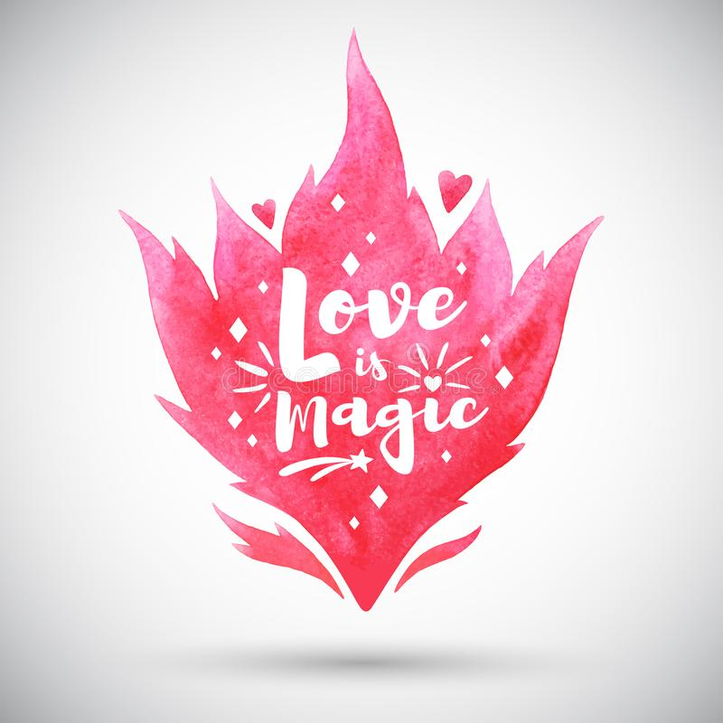 O amor é rotulação mágica, ilustração do dia de Valentim ilustração stock