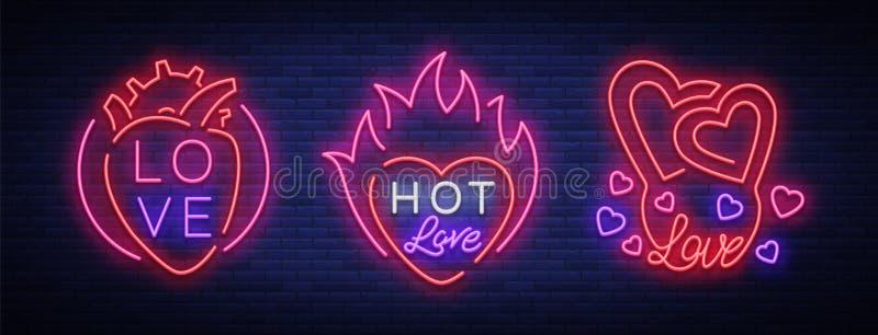 O amor é um grupo de símbolos Coleção dos sinais de néon no tema do dia do Valentim s Bandeira flamejante para cumprimentos ilustração stock